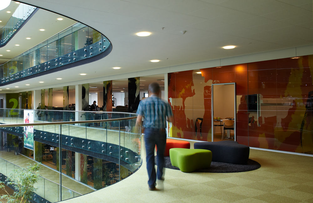 Foliering og fönsterdekor gjorda för Arlas kontor